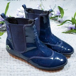 Lacoste blue patent leather Chisai Chelsea boots